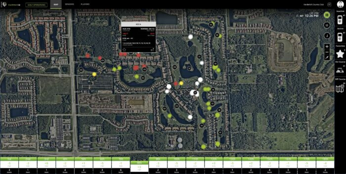 air traffic control view of fairwayiq golf cart gps virtual ranger for private clubs and golf courses