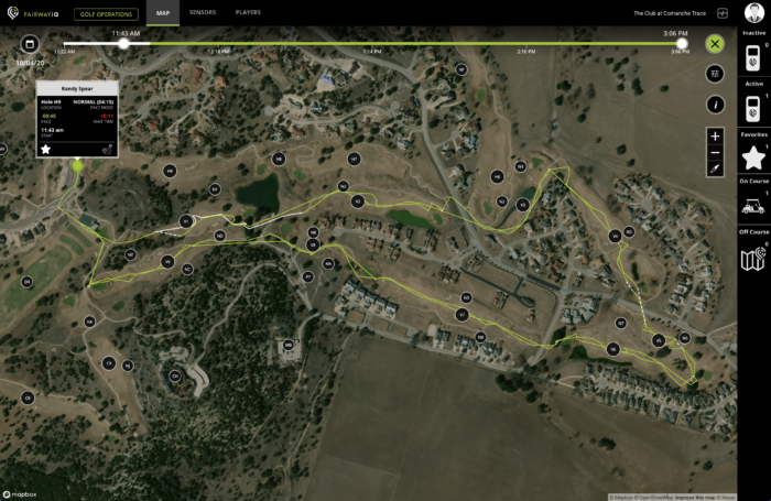 fairwayiq virtual ranger golf cart gps trace line path traveled